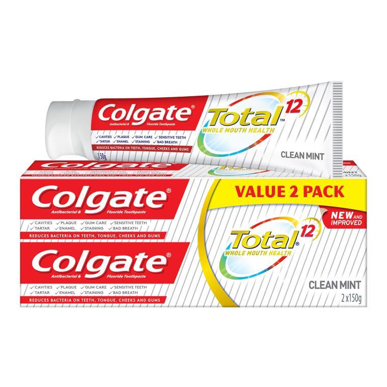 Pek Nilai Colgate Total 12 Hour Protection Clean Mint Antibacterial & Fluoride Toothpaste