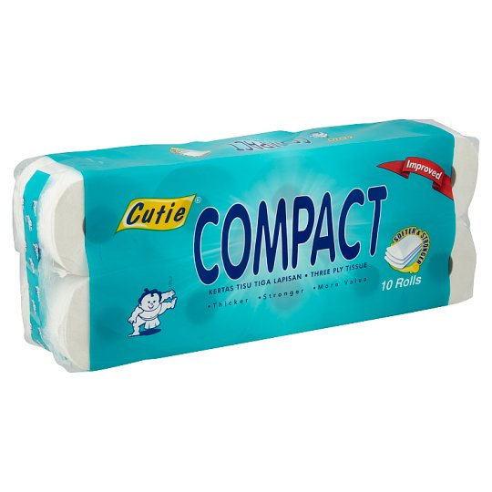 Compact Three Ply Tissue 30 Rolls (3 Packets x 10 Rolls)